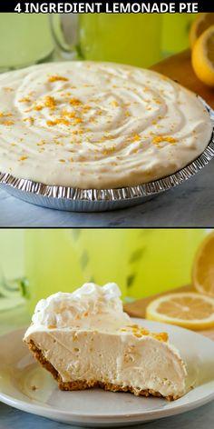 Summer Dessert Recipes, Easy No Bake Desserts, Lemon Desserts, Frozen Desserts, Delicious Desserts, Frozen Pies, Easy Summer Desserts, Refreshing Desserts, Easy Pie Recipes