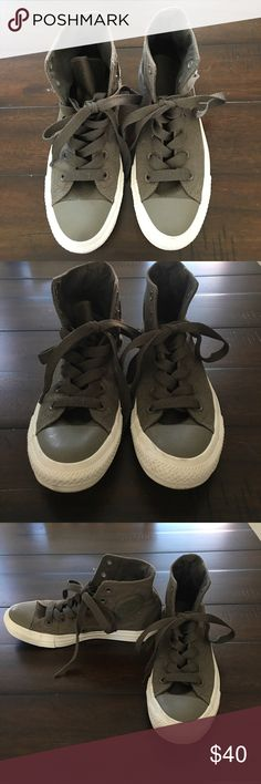 Women's gray converse all star high tops Grey canvas material, gray laces and white soles. In great shape and barely worn. Converse Shoes Sneakers