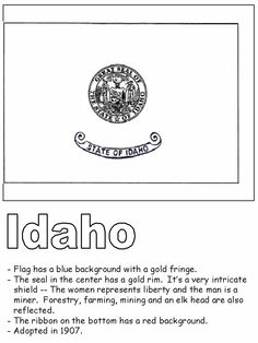 Idaho state quarter coloring page usa state quarters for Idaho state flag coloring page