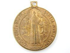 Vintage Saint Benedict of Nursia Exorcism Medal - Bronze Religious St Charm - Catholic Scapular Medal - M35 by LuxMeaChristus on Etsy