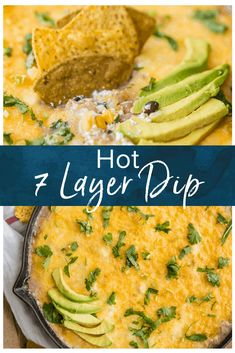 7 Layer Dip doesn't have to be cold! This 7 layer Taco Dip recipe is filled with flavor, made in a skillet, and it's plenty hot. Perfect for dipping during tailgating or Cinco de Mayo. So addicting! #thecookierookie #dip #appetizers 7 Layer Taco Dip, 7 Layer Dip Recipe, Layered Taco Dip, Party Dip Recipes, Tailgating Recipes, Chipotle, Crockpot, Roast Beef Sandwiches, 7 Layers