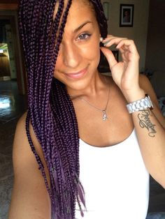 Purple box braids.