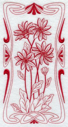 Machine Embroidery Designs at Embroidery Library! -gerbera daisy deco redwork 12616