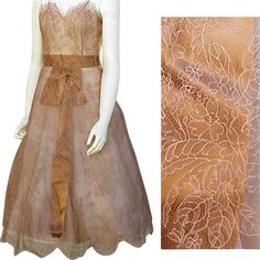 Spectacular 1950s - 1960s Silk Chantilly Lace Cocktail Dress Lace from toinetterl on Ruby Lane