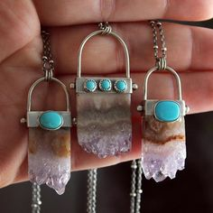 Hope you all are having a lovely Sunday  Amethyst Slice and Turquoise Necklaces available in the shop