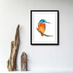 Kingfisher 2 watercolor, kingfisher watercolor painting, bird art, Nature art, birds watercolor, nursery art, wild life art, home and living