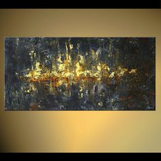 City Painting Original Abstract Modern Fine Art by Osnat