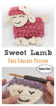 Crochet Pattern Stitches Sweet Bubble Stitch Lamb Free Crochet Pattern - This little lamb is a wonderful toy and cuddle buddy to both little boys and girls. The Sweet Bubble Stitch Ragdoll Lamb Free Crochet Pattern is quite quick to make. Crochet Sheep, Easter Crochet, Crochet Patterns Amigurumi, Cute Crochet, Baby Knitting Patterns, Crochet Dolls, Crocheted Animals, Crochet Phone Cases, Crochet Mobile