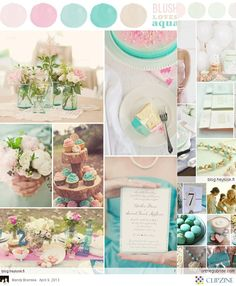 "Pink and mint wedding scheme, with lots of vintage touches. ""my colors are blush and bashful"" ""her colors are pink and pink"""