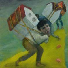 """Housing Crisis""  (2015) oil, inks, gouache and varnish on canvas; 25cm x 25cm x 1.5cm"