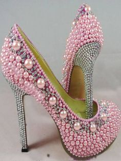 Women High Heel Pink Pearl Crystal Shoes