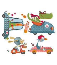 vinilo-infantil-happy-cars Baby Posters, Christmas Drawing, Patch Quilt, Mural Art, Children's Book Illustration, Vinyl, Kids House, Nursery Art, Fiber Art