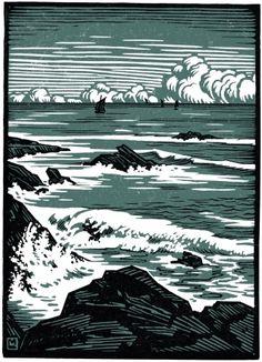 La Mer (Bretagne) - gravure sur bois 1910 - Louis Moreau, 1883-1952 France