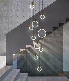 This Halo chandelier is a funky addition to any staircase or foyer.