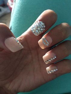 Nude bling nails