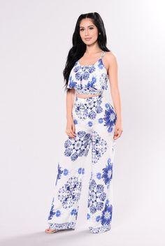 1358ba4c4 Available in White Royal - 2-Piece Set - Woven - Floral Print