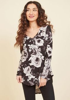 #ModCloth - #ModCloth Embracing Basic Long Sleeve Top in Black Roses in M - AdoreWe.com