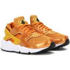 Nike Air Huarache Run Sneakers ($135) ❤ liked on Polyvore featuring shoes, sneakers, nike, orange, nike trainers, nike shoes, orange sneakers and nike footwear