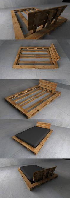 étapes pour fabriquer un lit avec des palettes tête de lit en palette matelas noir