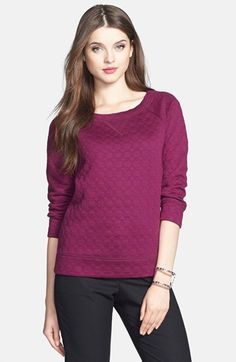 Free shipping and returns on Halogen® Rosette Detail Sweatshirt (Regular & Petite) at Nordstrom.com. Tonal rosette patterning adds girly dimension to a comfy sweatshirt with a pretty ballet neckline and banded trim.