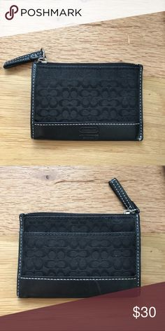 Authentic Coach Wallet In great condition!  For drivers license, credit cards, small amount of cash and coins. Also has a front pocket. Zips to close  Small and lightweight and fits in your back pocket! Coach Accessories Key & Card Holders