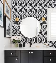 Vanessa Francis - Schumacher Agadir Screen wallpaper in Noir - One Room Challenge 2015