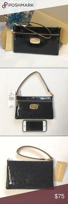 "MK wristlet Authentic Michael Kors wristlet, gold hardware, patent black MK embossed, beige/tan leather strap, measures approx. 8""w x 5""h x 1""d, brand new, will ship with gift box as pictured. Michael Kors Bags Clutches & Wristlets"