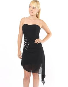 9.99 Black Sheer Layered Strapless Dress With Clear Jewls