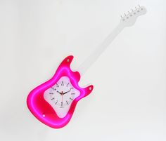 Guitar Wall Clock with Red Neon