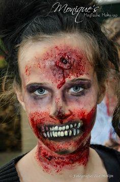 Face paint / schmink design halloween zombie by Monique's Magische Make-up www.magischemakeup.nl