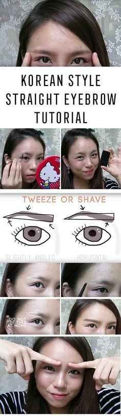 Best Korean Makeup Tutorials - How To Korean Style Straight Eyebrow Tutorial- Natural Step By Step Tutorials For Ulzzang, Pony, Puppy Eyes, Eyeshadows, Kpop, Eyebrows, Eyeliner and even Hairstyles. Super Cute DIY And Easy Contouring, Foundation, and Simple Dewy Skin Help For Beginners - https://thegoddess.com/best-korean-makeup-tutorials #koreaneyemakeup