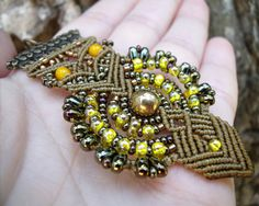 Micro macrame necklace Owl Bird Bronze Bohemian by MartaMacrame