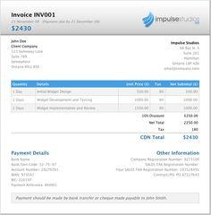 Impulse Studios' invoice