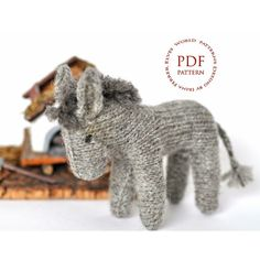 """Little gray donkey Knitting pattern by ElvesWorld """"Little gray donkey"""" waldorf inspired toy.Pattern is written in English. This toy donkey is kni Crochet Toys Patterns, Amigurumi Patterns, Stuffed Toys Patterns, Knitting Patterns, Knitted Animals, Knitted Stuffed Animals, Paintbox Yarn, Knitted Dolls, Knitting Needles"""