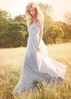 Illusion Shoulder Beaded Bodice Long Chiffon Bridesmaid Dress