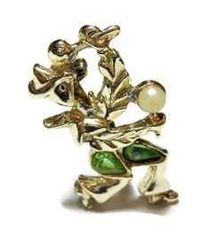 Flamenco dancer brooch pin with maracas and faux pearl and green rhinestones in…