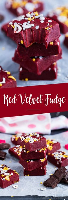 Red Velvet Fudge This Red Velvet Fudge requires no thermometer to make and is a fun and delicious treat to make your loved ones for Valentine's Day! Related Easy Makeup Ideas For Beginner To Try This YearMakeup-Ideen für Herbst und Winter dieses Jahres, Köstliche Desserts, Delicious Desserts, Dessert Recipes, Yummy Food, Fudge Recipes, Candy Recipes, Sweet Recipes, Cupcakes, Red Velvet Fudge