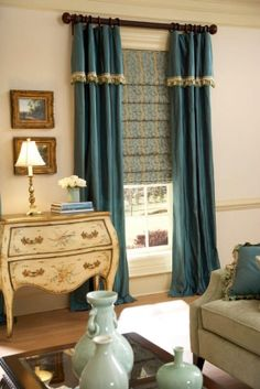 Ring Top Panels with Attached Valance over Waterfall Roman Shades