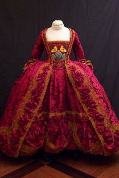 1750-style  Court Dress  A modern reproduction. Website has multiple views and details on construction process