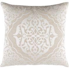 "House of Hampton Dylan Throw Pillow Size: 18"" H x 18"" W x 4"" D, Color: Khaki/Ivory"