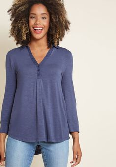 Sweet as Henley Knit Top in Navy   ModCloth