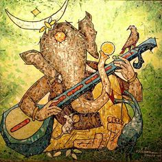 Ganesha - love this fun take on the often jovial God Ganesha Painting, Ganesha Art, Lord Ganesha, Indian Gods, Indian Art, Om Gam Ganapataye Namaha, Elefante Hindu, Shree Ganesh, Madhubani Art