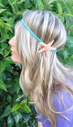 Super cute. Now if only I hadn't missed out on the girly gene. Can't do hair for shit.   Starfish Sparkly Aqua Teal Turquoise Elastic Headband via Etsy.
