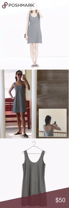 "MADEWELL Striped Tank Dress Understated and effortlessly cool, this striped tank dress comes in a lightly textured knit that's perfect for layering (just how we like it).   Nonwaisted. Falls 34 5/8"" from highest point of bodice. Cotton/poly. Machine wash. Import. Madewell Dresses"