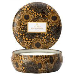 Voluspa Three Wick Candle In Decorative Tin - Baltic Amber