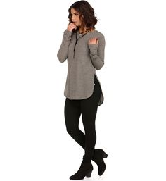 Taupe Ribbed Fall Pocket Sweater