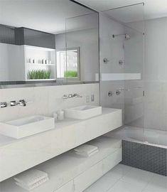 I like the shelf under the floating sink.for basement bathroom redo. House Bathroom, Updating House, Small Toilet Room, Eclectic Bathroom, Bathroom Update, Modern Bathroom, Bathroom, Bathroom Shower, Bathroom Design