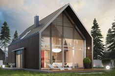 Projekt domu EX 13 Energo Plus - Best Modern House Design, A Frame House, Forest House, Village Houses, Modular Homes, Home Fashion, Home Projects, Exterior Design, Modern Architecture