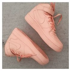 Shoes nude peach coral nike air force 1 high top ❤ liked on Polyvore featuring shoes, sneakers, nude shoes, nike sneakers, coral shoes, hi tops and nike trainers