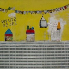 """""""our anniversary"""" 60x60cm Mixed media on canvas painted by mariko murase #painting #art #yellow and grey #outsider art #kids art #yellow #stripes #アート #絵 #ミクストメディア #ボーダー #ストライプ"""